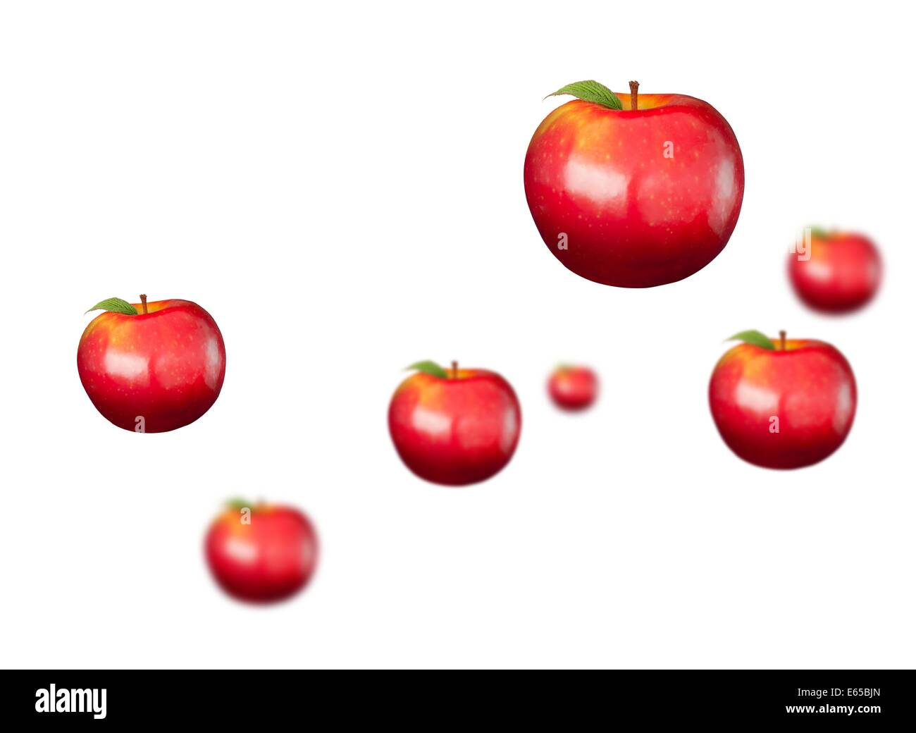 Digitally generated shiny red apples - Stock Image