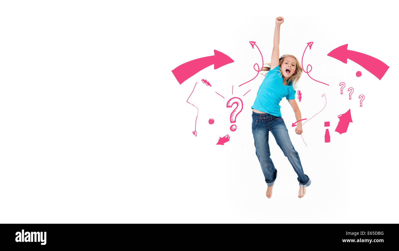 Composite image of exclamation mark and arrows - Stock Image