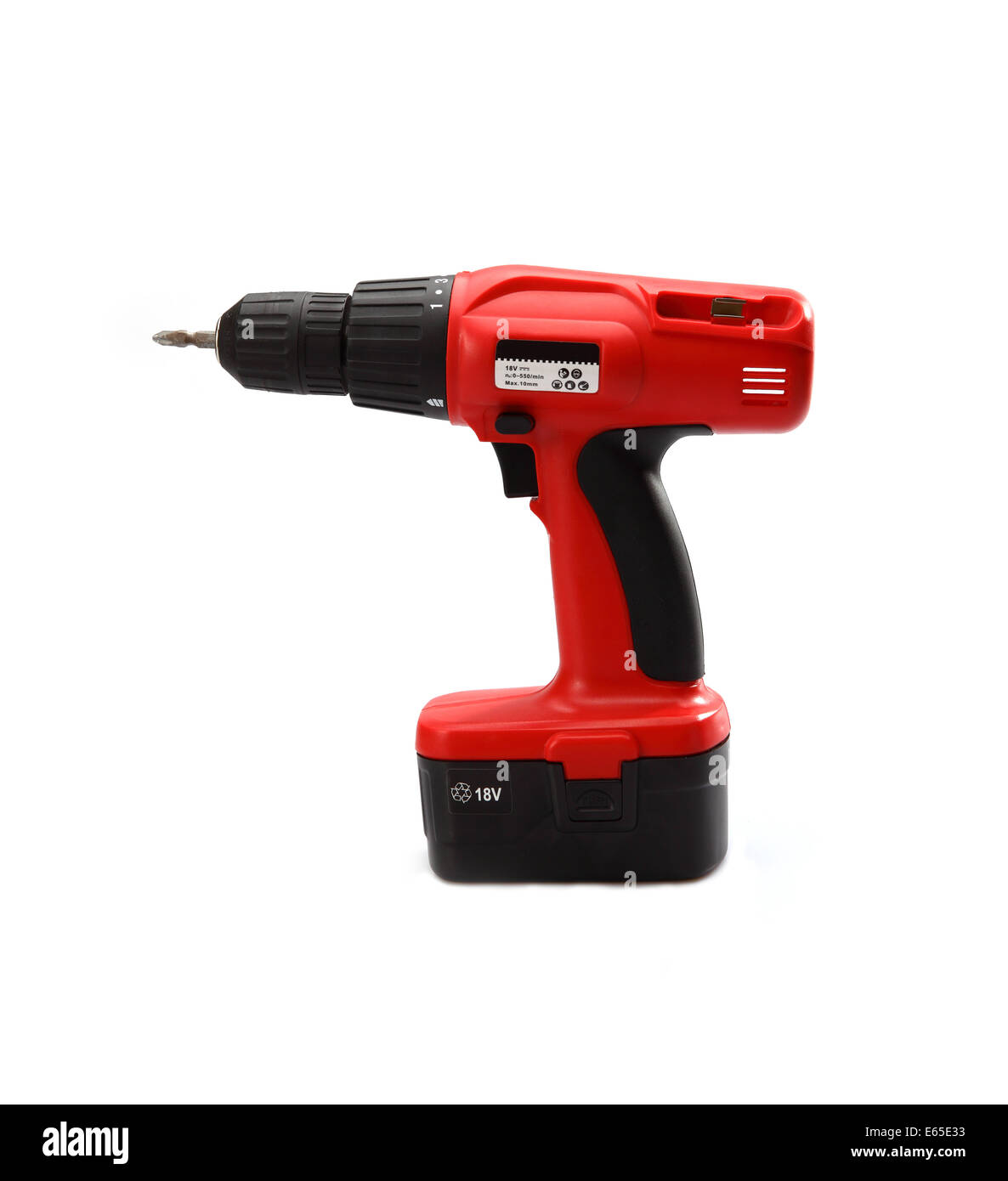 Isolated power tool in red on the white background - Stock Image