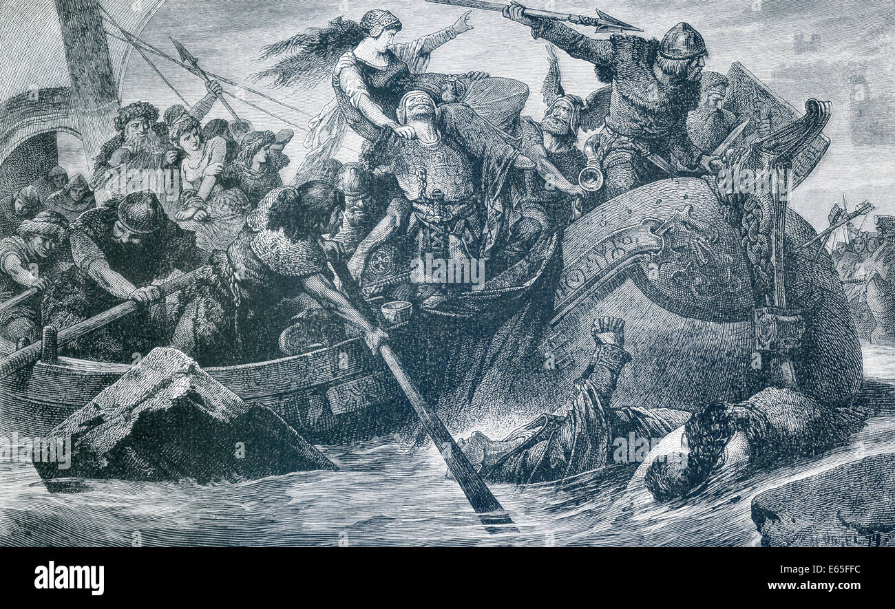 A Viking raid under command of Olaf Tryggveson, a figure in Faroer Saga who undertook conversion of Norway to Christianity. - Stock Image