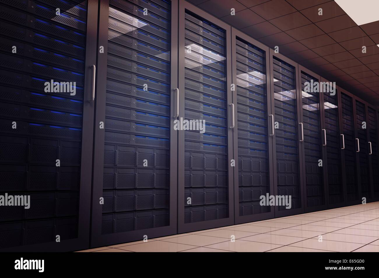 Digitally generated server room with towers - Stock Image