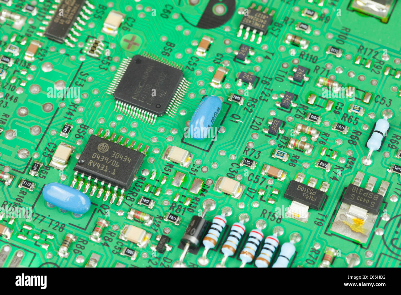 Macro Shot Of An Electrical Circuit Board Stock Photo
