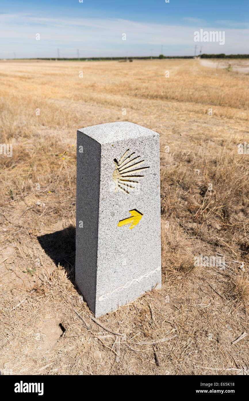 Milestone with the Saint James Shell on it, showing that you are on the right path on the Way of Saint James (Camino - Stock Image