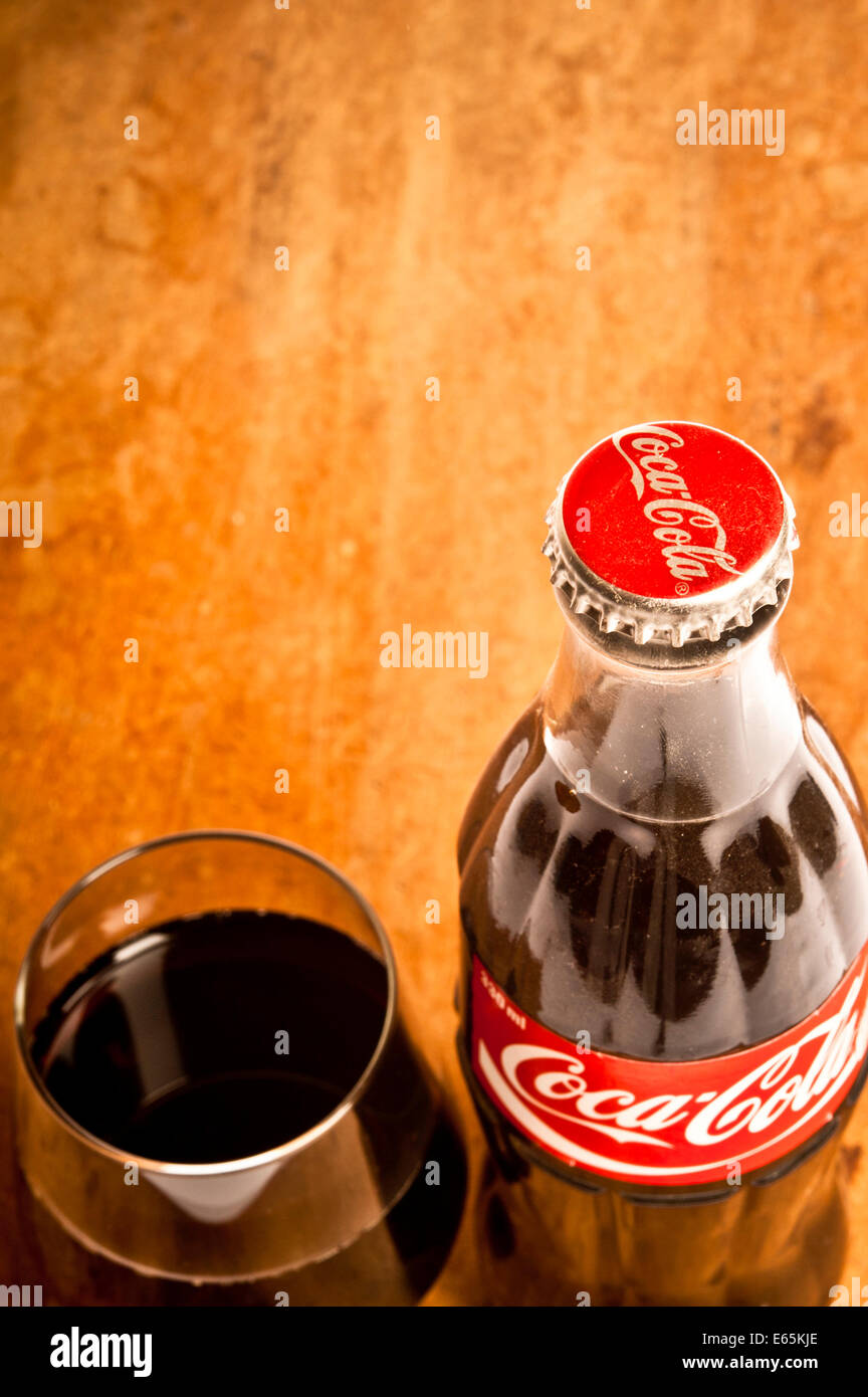 vintage Coca cola bottle and glass - Stock Image
