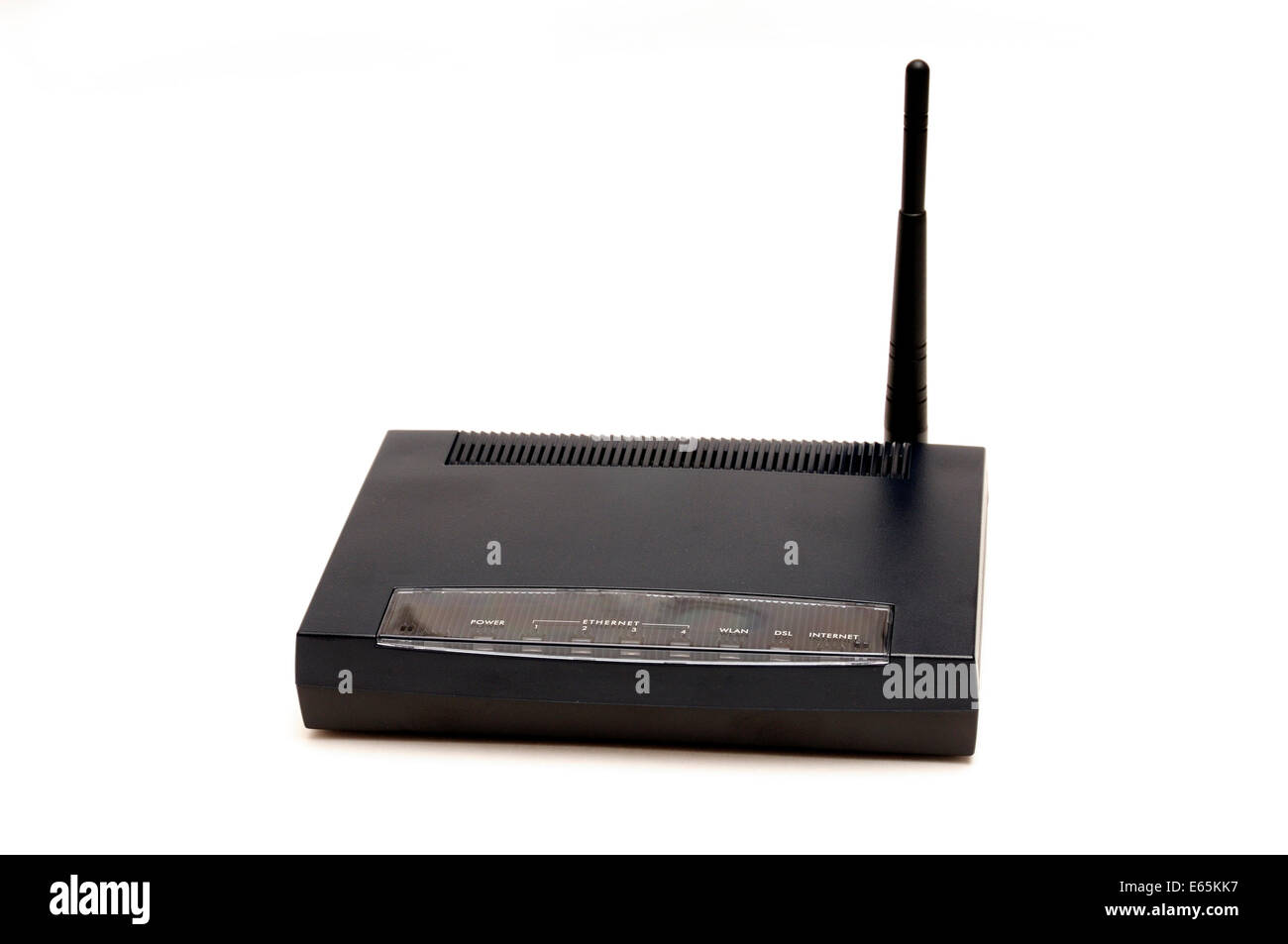 wireless router with antenna for LAN internet connection - Stock Image