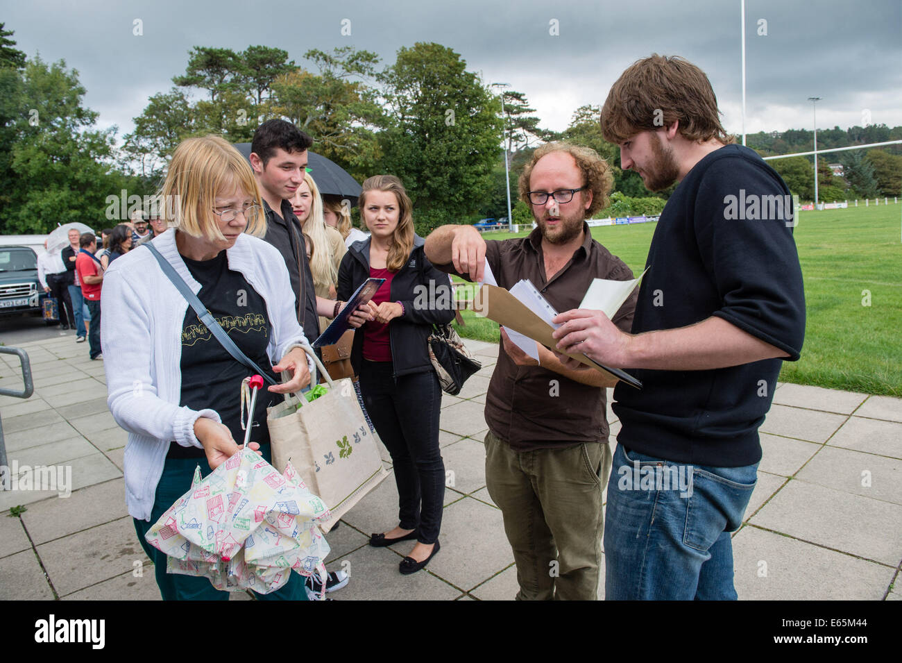Aberystwyth, Wales, UK. 15th Aug, 2014.  Hundreds of people of all ages turned up to open auditions at Aberystwyth - Stock Image