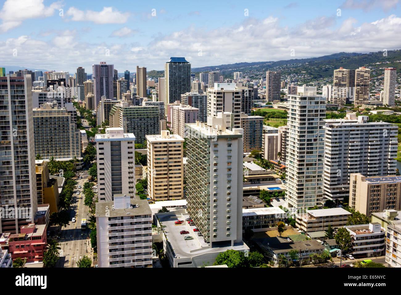 Hawaii Hawaiian Honolulu Waikiki Beach resort high rise building hotels condominium buildings - Stock Image