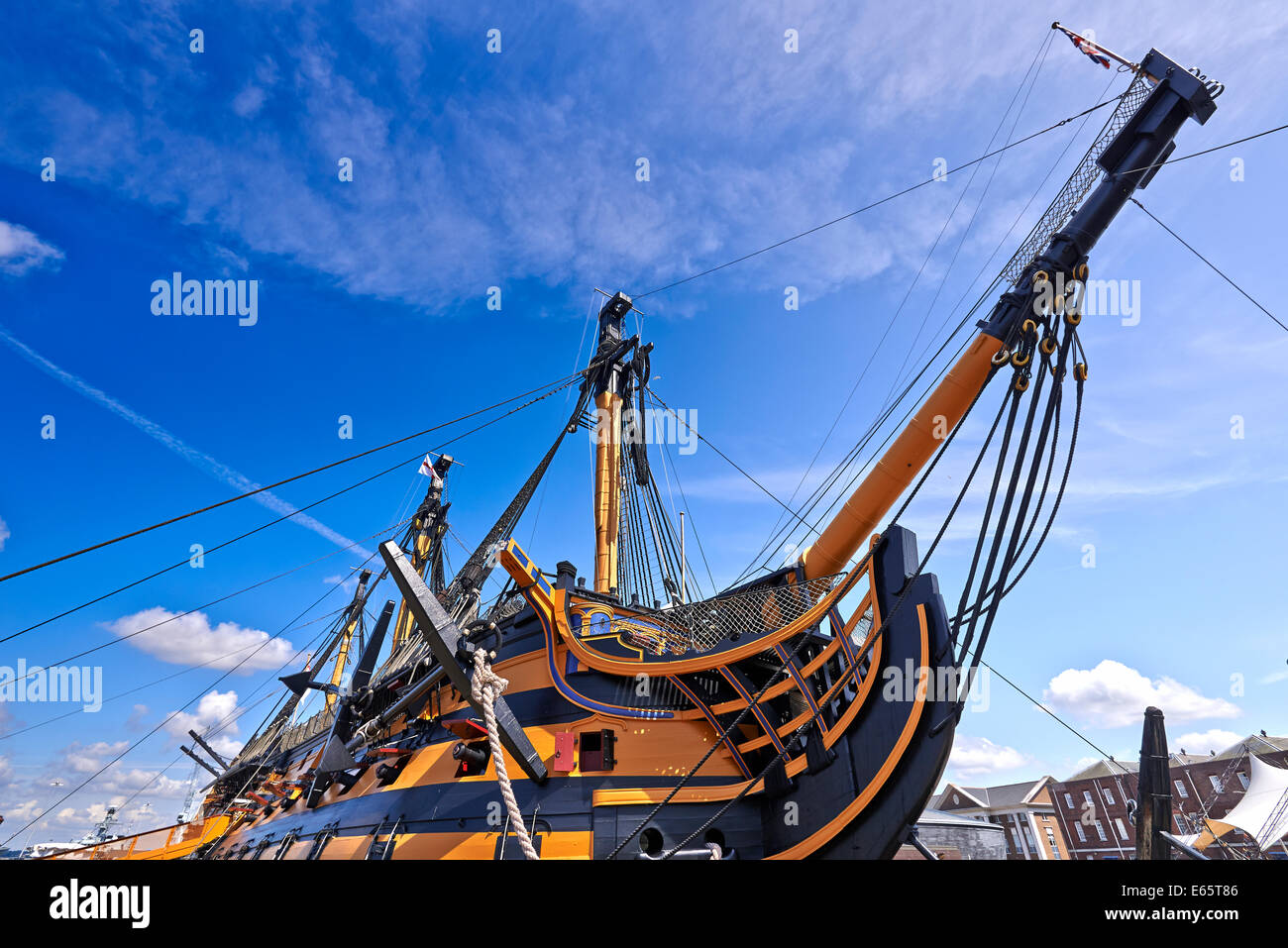 HMS Victory is a 104-gun first-rate ship of the line of the Royal Navy, laid down in 1759 and launched in 1765 Stock Photo