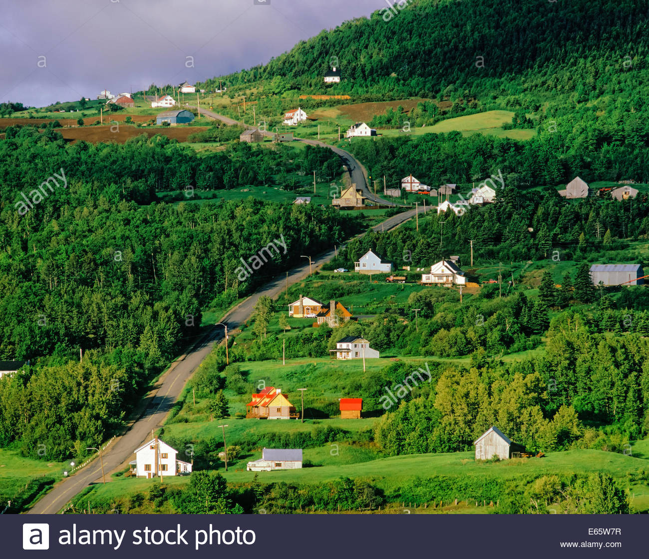 Charlevoix area on the highway along the North Shore of the Saint Lawrence River near Saint -Simeon Quebec Canada - Stock Image