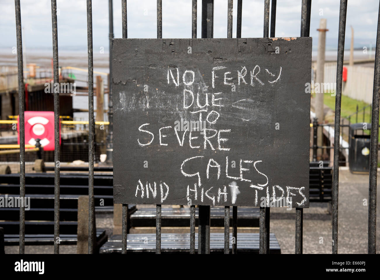 Fleetwood Ferry cancelled notice due to gales and high tides Lancashire England UK - Stock Image