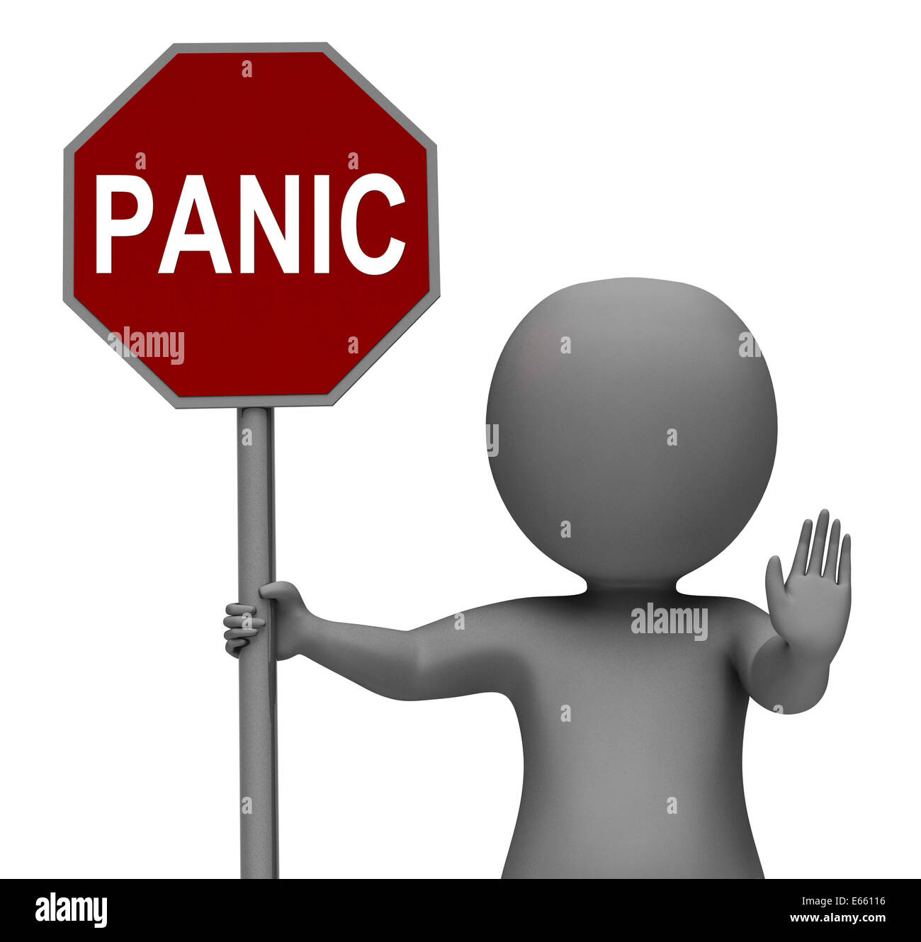 Panic Stop Sign Showing Stopping Anxiety Panicking Stock Photo