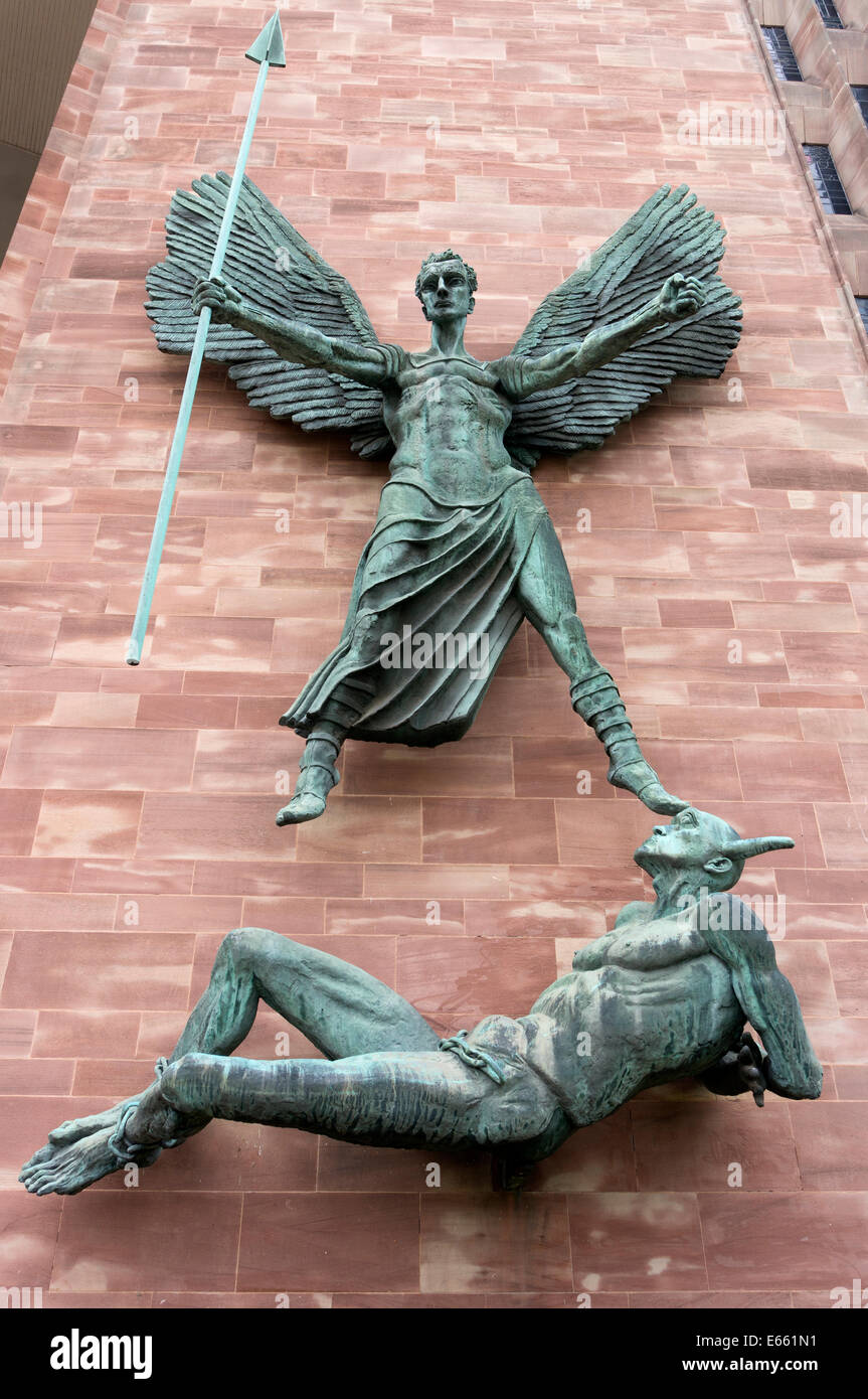 Sculpture of St Michael's victory over the devil by Jacob Epstein at Coventry Cathedral - Stock Image