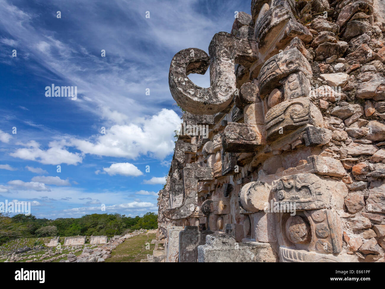 The hooked snout of Chaac, the rain god, on the Temple of Masks at Kabah, Yucatan, Mexico. Stock Photo