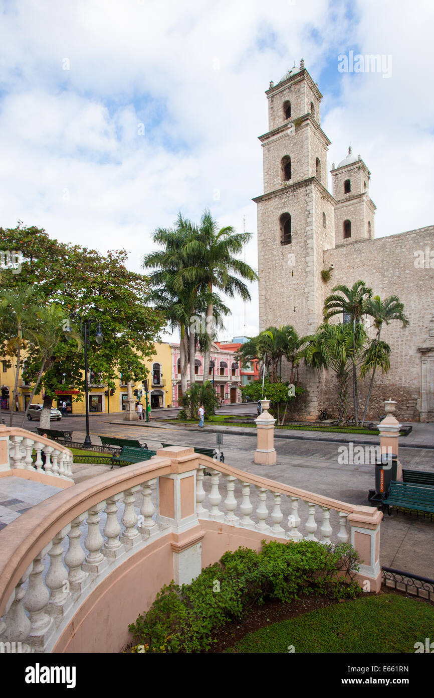 Park and temple of Maternity (Maternidad) in the historic downtown of Merida, Yucatan, Mexico. Stock Photo
