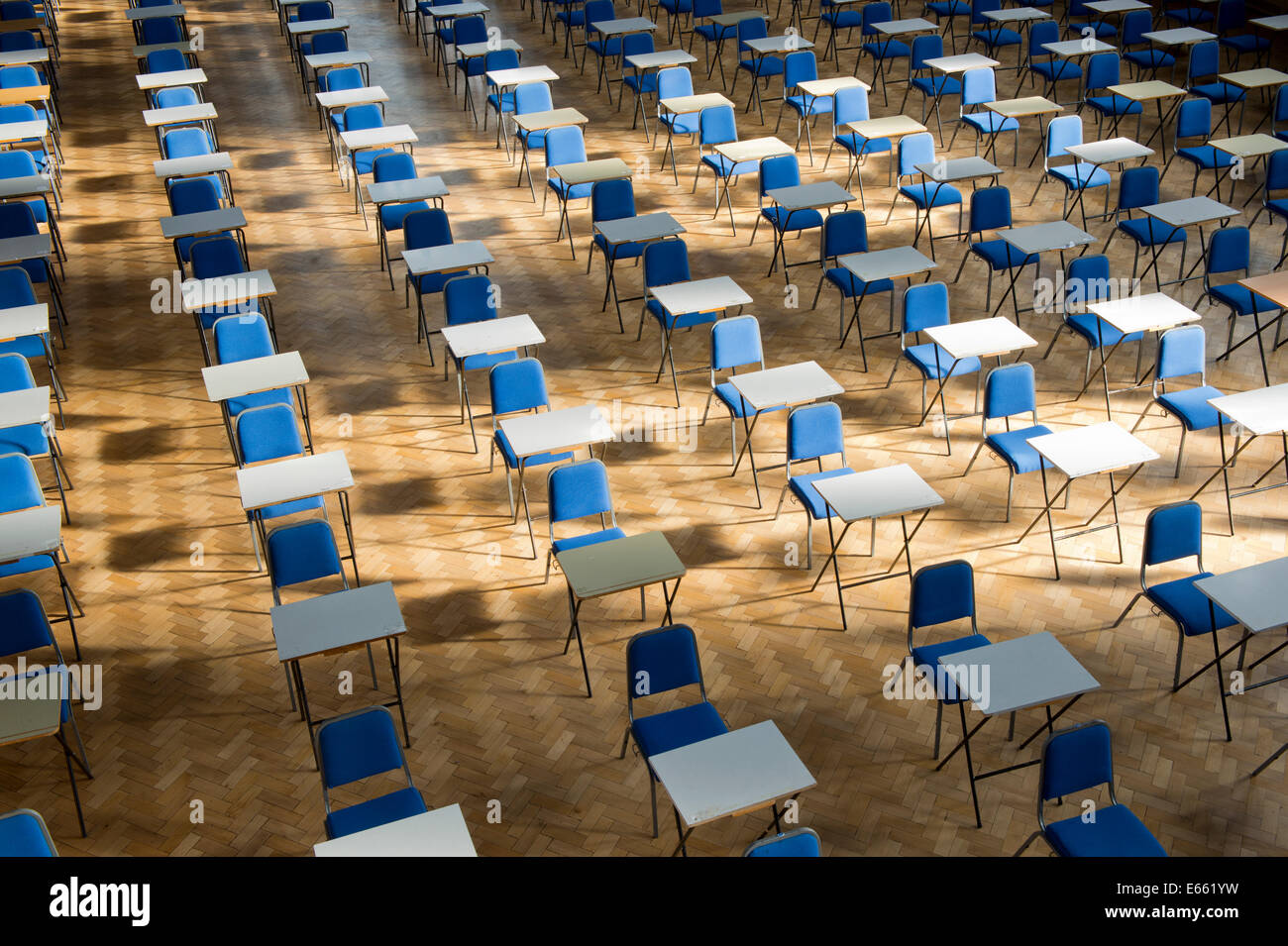 Tables and chairs are neatly lined up for exams in Whitworth Hall building at The University of Manchester (Editorial - Stock Image