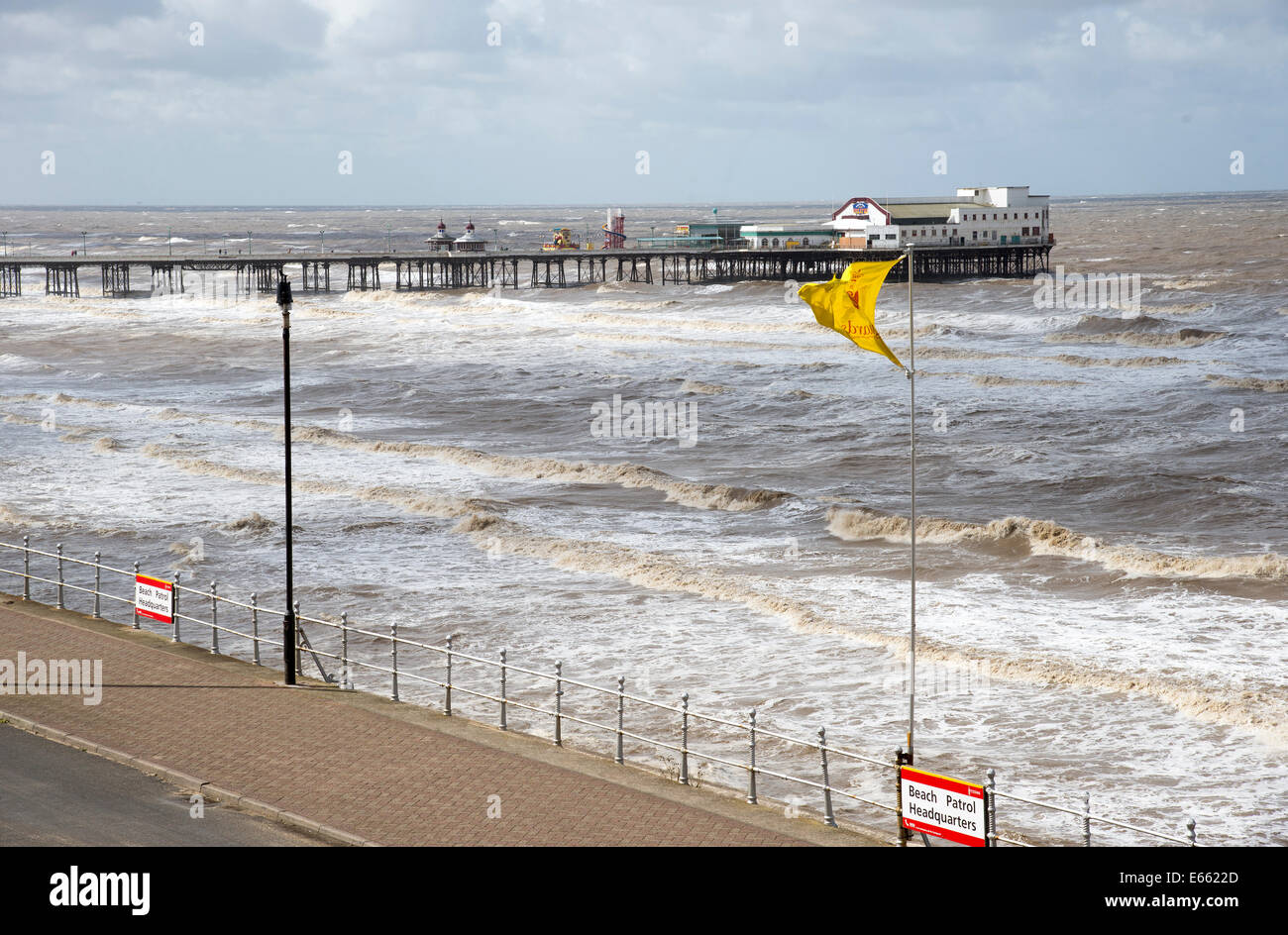 North Pier on windy summer day and rough sea at Blackpool Lancashire England UK Mid summer bad weather conditions - Stock Image