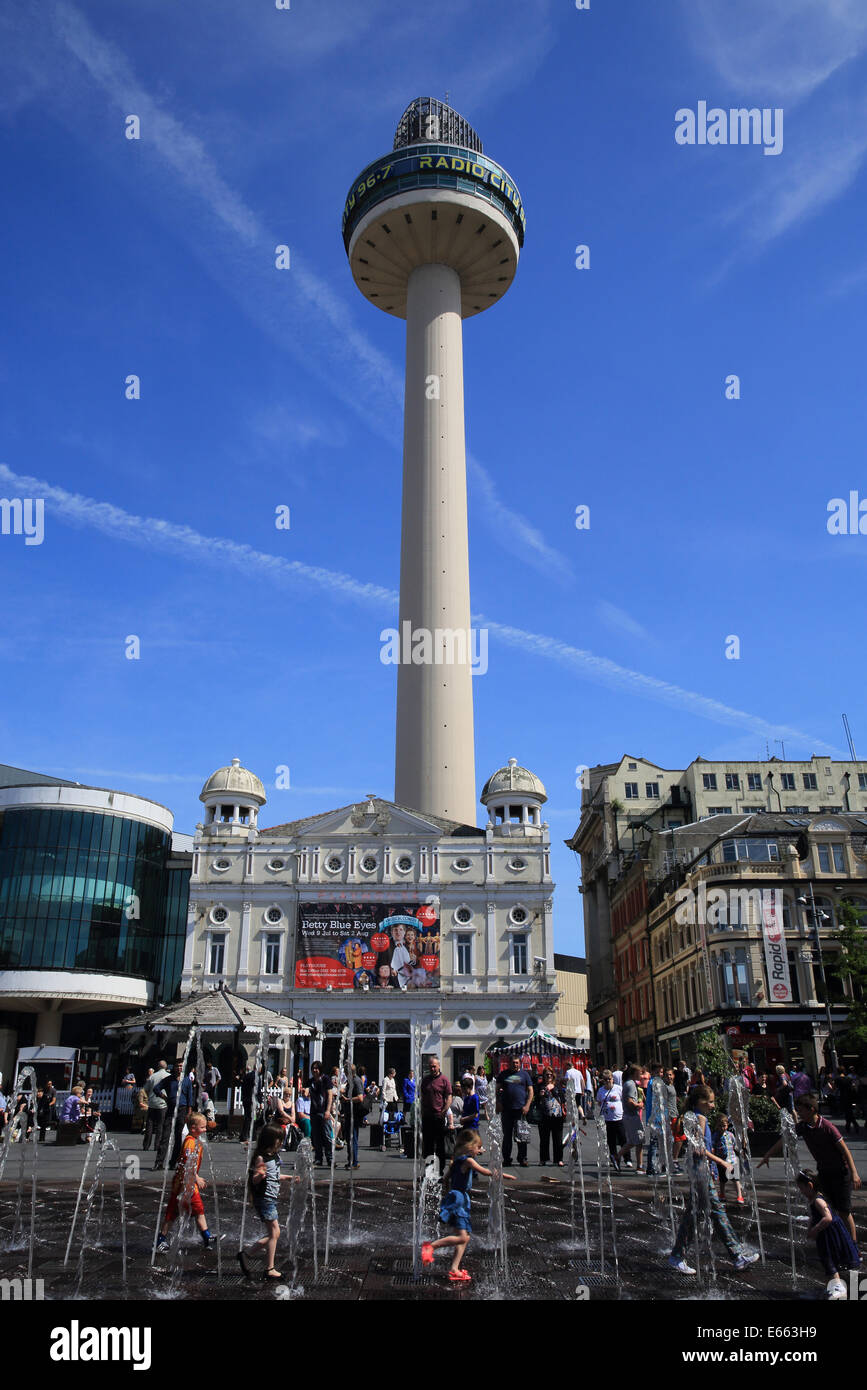 Radio City Tower, from busy shopping area Williamson Square, in Liverpool, on Merseyside, NW England, UK Stock Photo