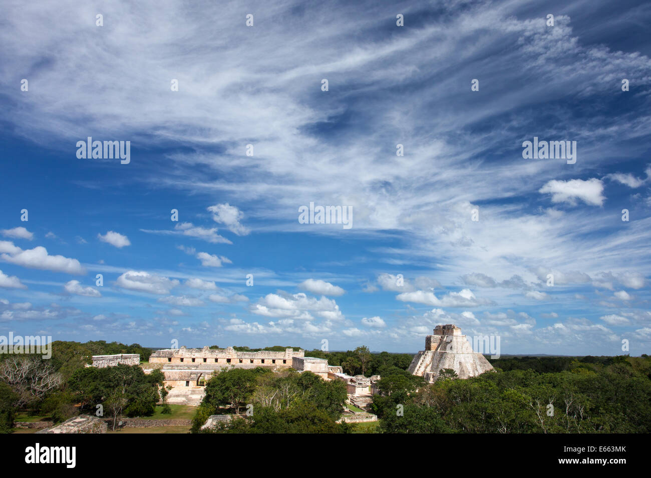 A wide view of the Uxmal archaeological site in Yucatan, Mexico. - Stock Image