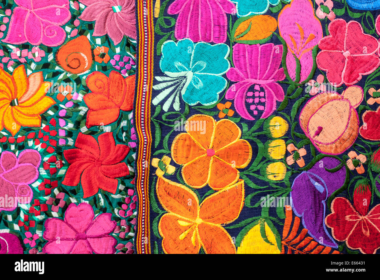 Detail of a colorful blanket for sale in the market at San Cristobal de las Casas, Chiapas, Mexico. - Stock Image