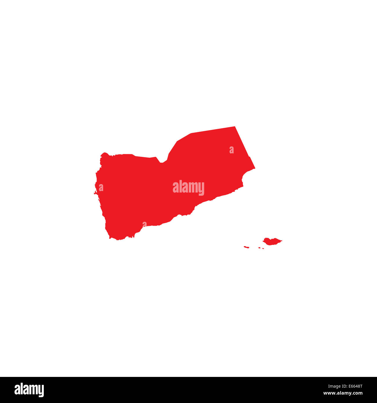 Shape of the Country of Yemen - Stock Image
