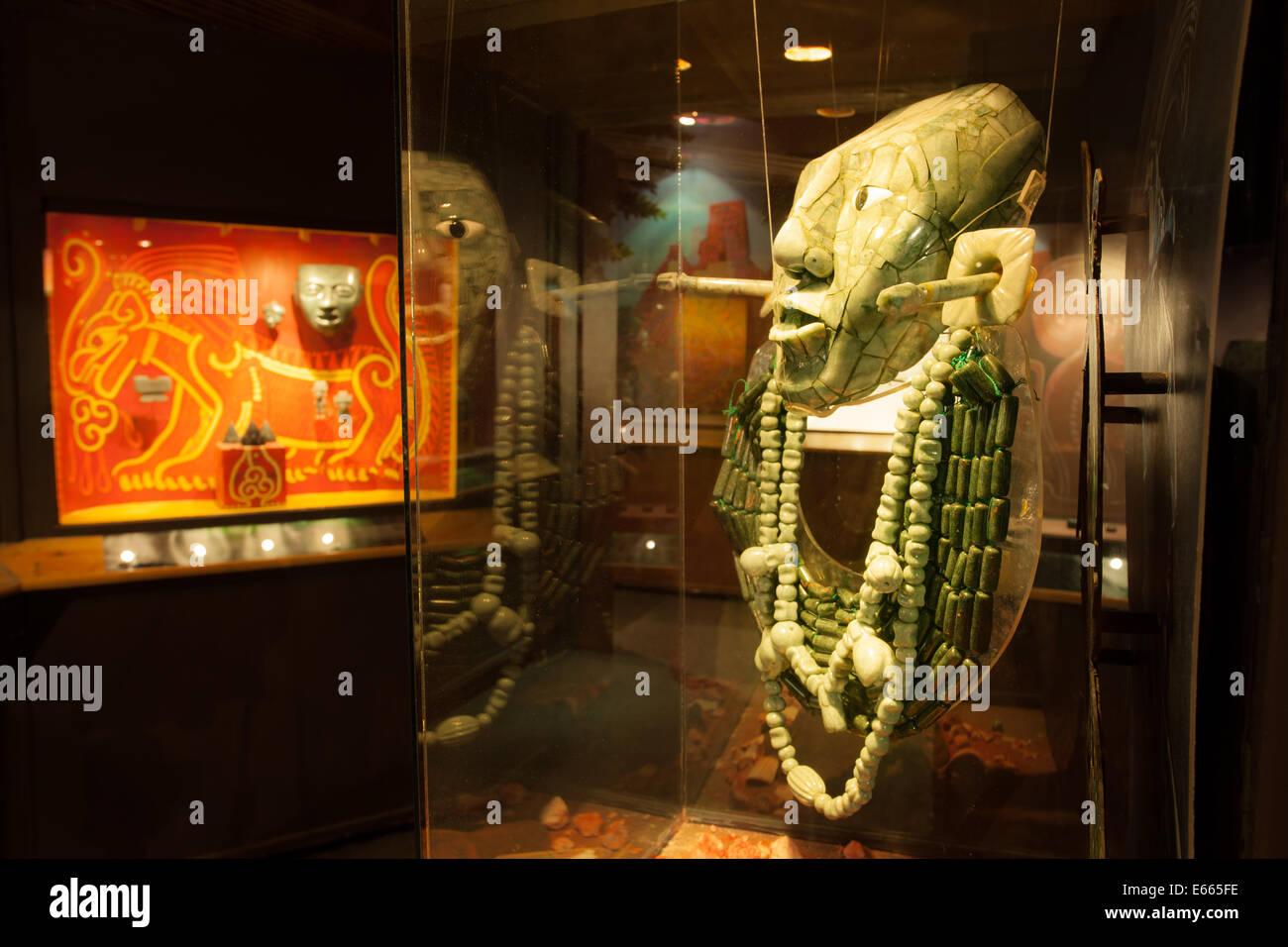 Jade mask in the Jade Museum in San Cristobal de las Casas, Chiapas, Mexico. - Stock Image