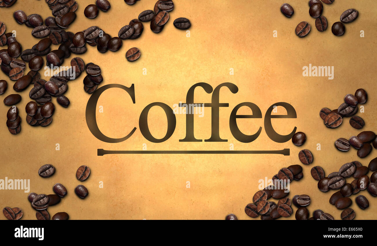Coffee text Bean on Old Paper Art - Stock Image