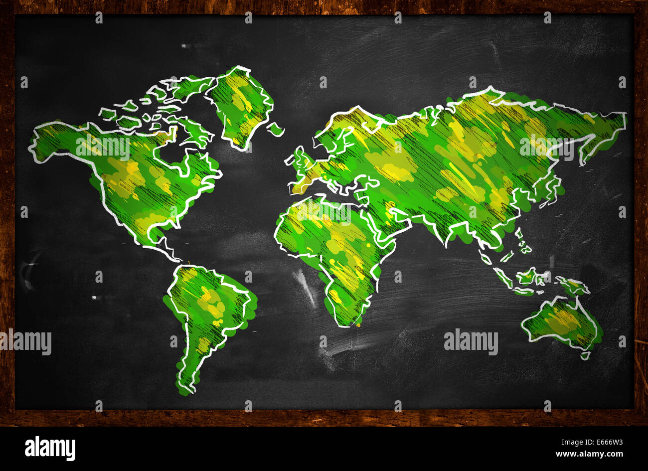 Line drawing world map stock photos line drawing world map stock green world map sketch on blackboard painting stock image gumiabroncs Choice Image