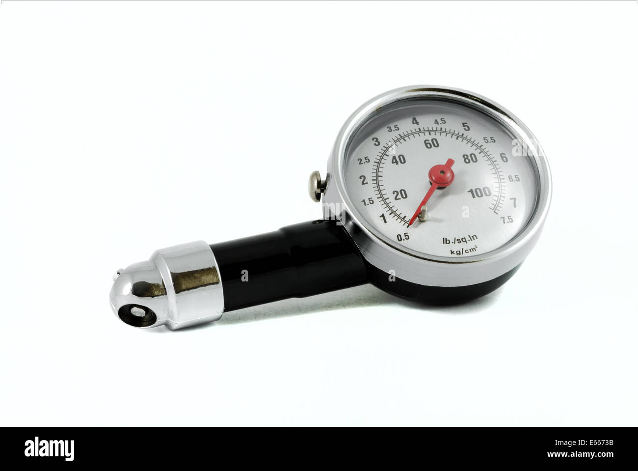 Tire Pressure Gauge isolated over white background - Stock Image