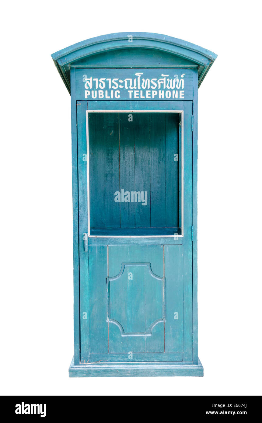 Public telephone box in Thailand - Stock Image