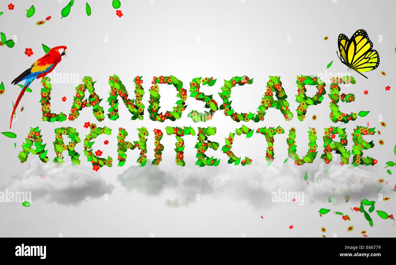 Landscape Architecture leaves particles 3D Text - Stock Image