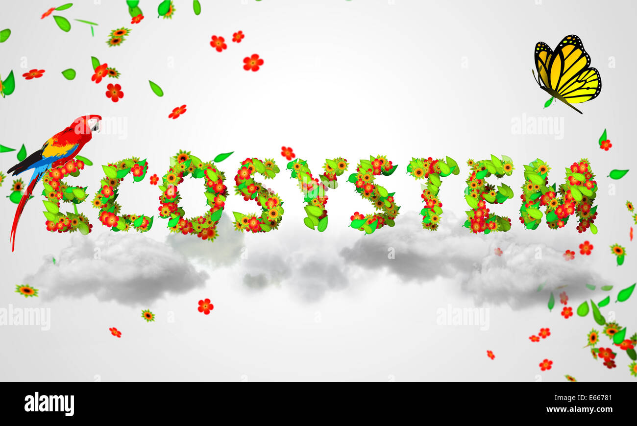 Ecosystem leaves particles 3D Nature Art - Stock Image