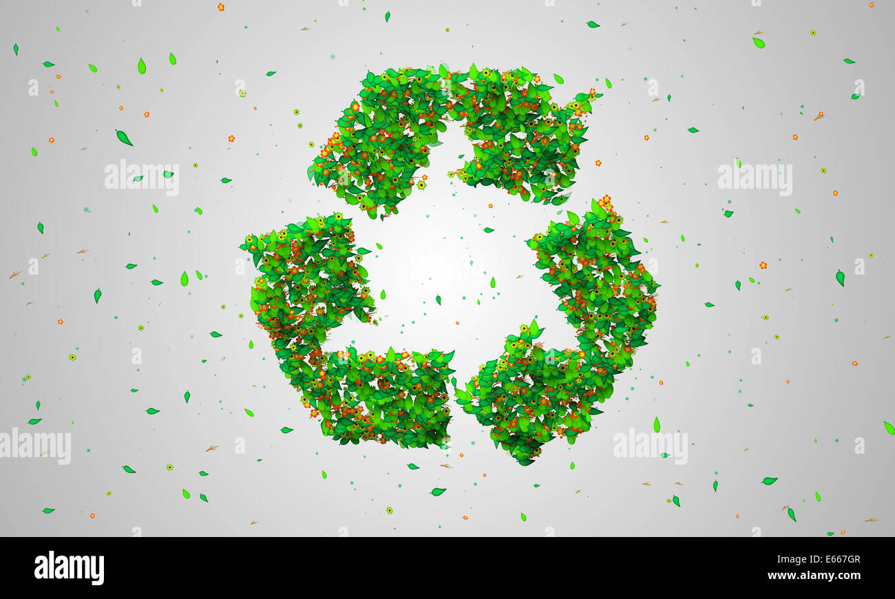 Recycle Symbol Green leaves particles 3D Art - Stock Image