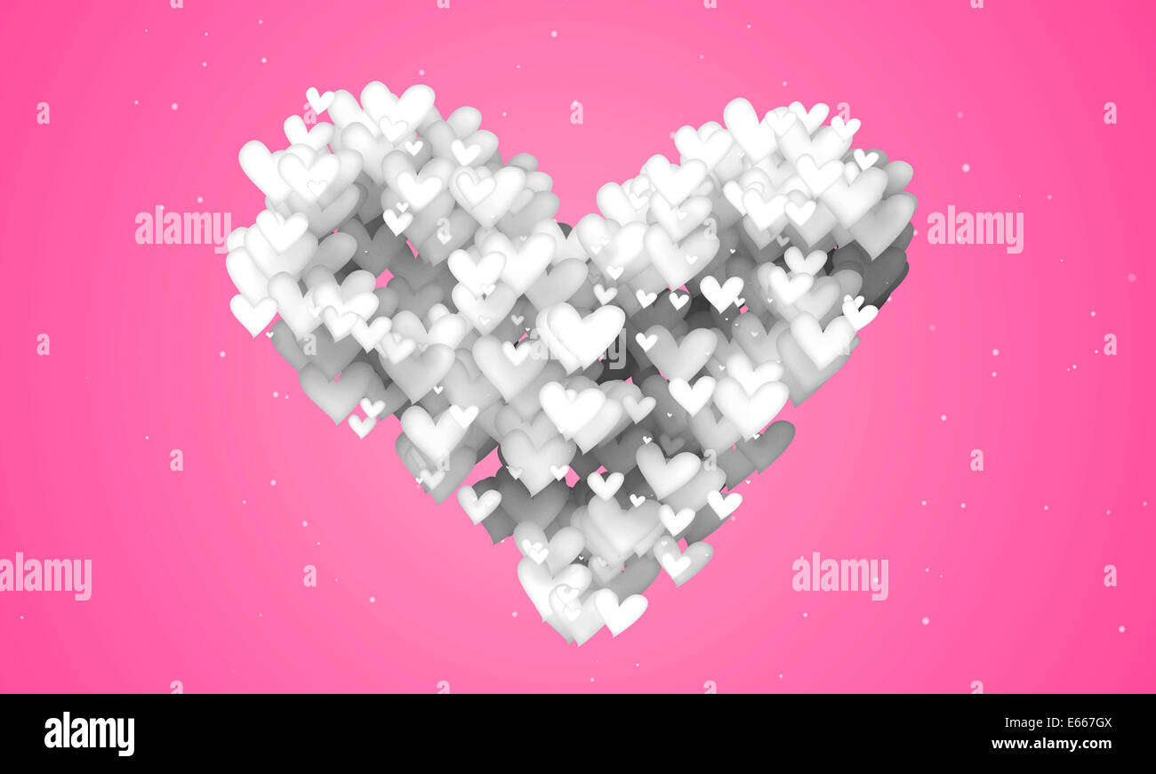 Love Shape Particles pink background 3D Paper - Stock Image