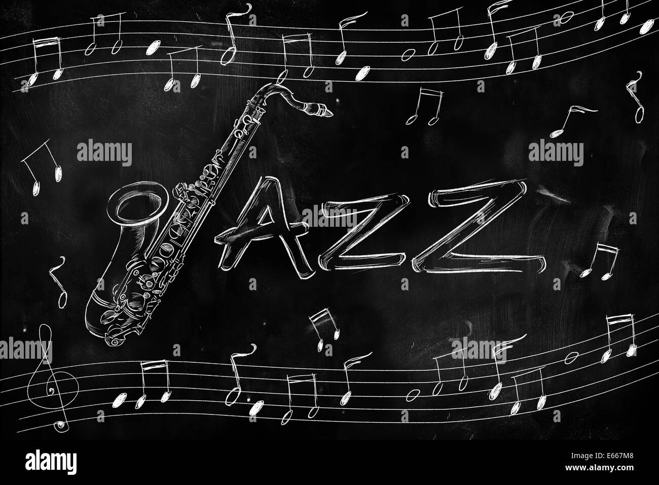 Jazz Saxophone Drawing On Blackboard Music Wallpaper