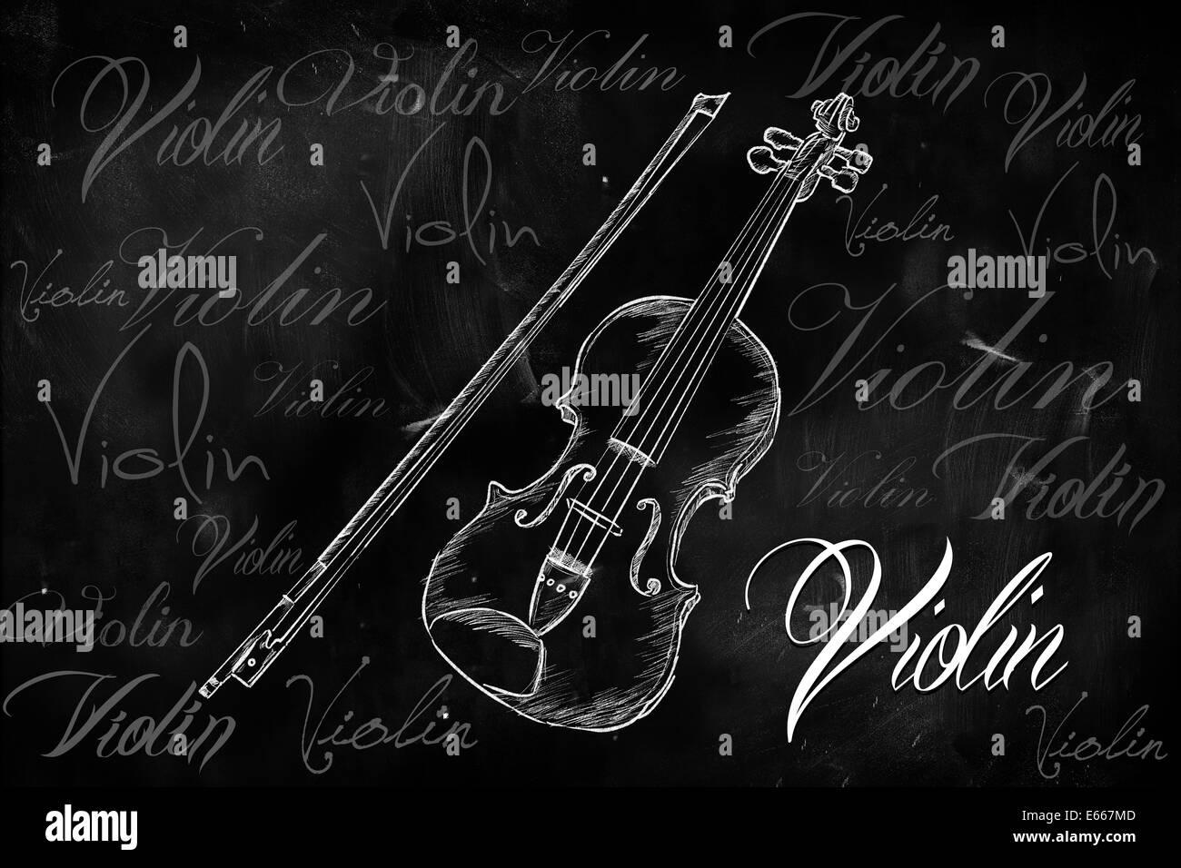 Violin Typography Sketching On Blackboard Music Wallpaper