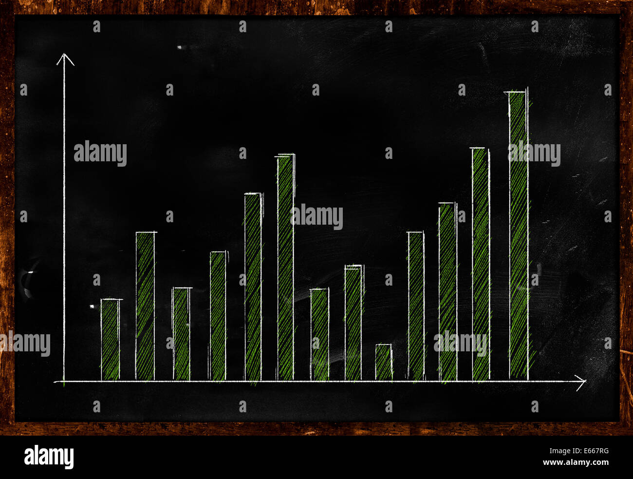 Data Statistic Green on Blackboard Sketch Drawing - Stock Image