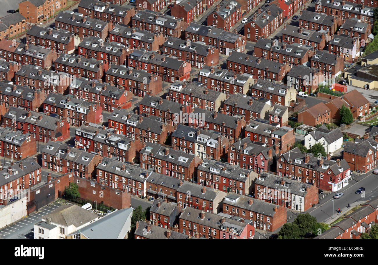 aerial view of back-to-back houses in Leeds, West Yorkshire - Stock Image