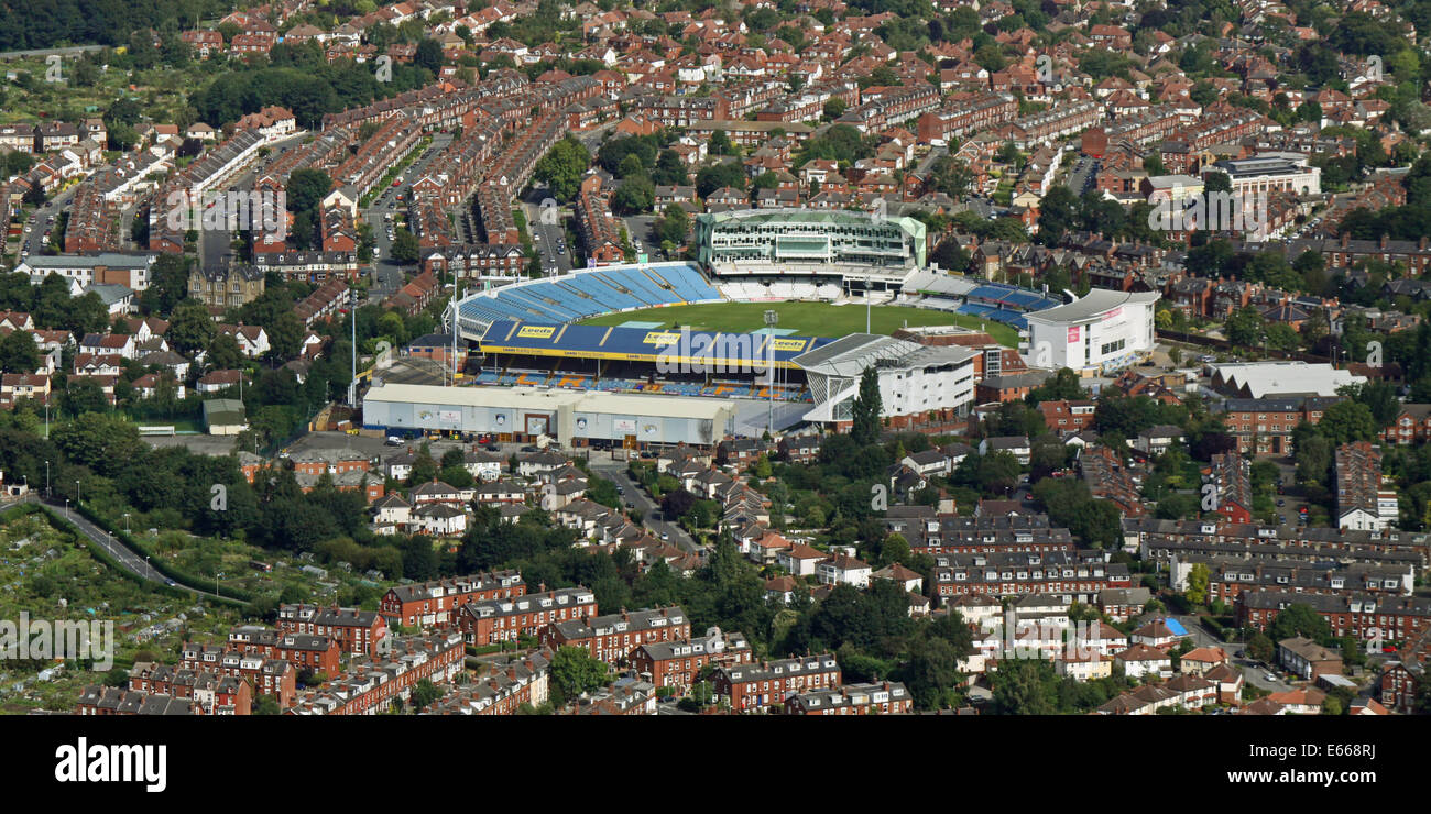 aerial view of Headingley, Leeds with its cricket and rugby stadiums, UK - Stock Image