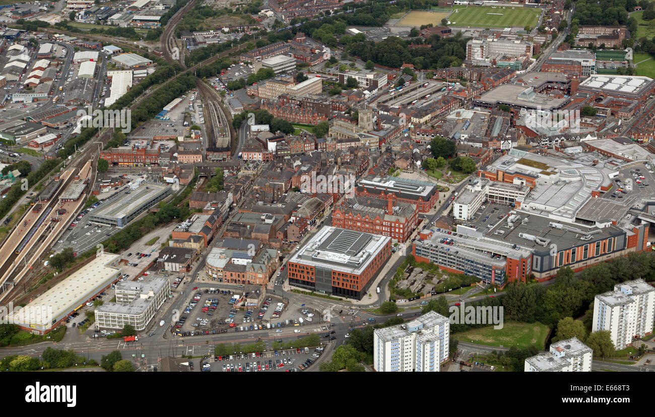aerial view of Wigan in Lancashire, UK - Stock Image