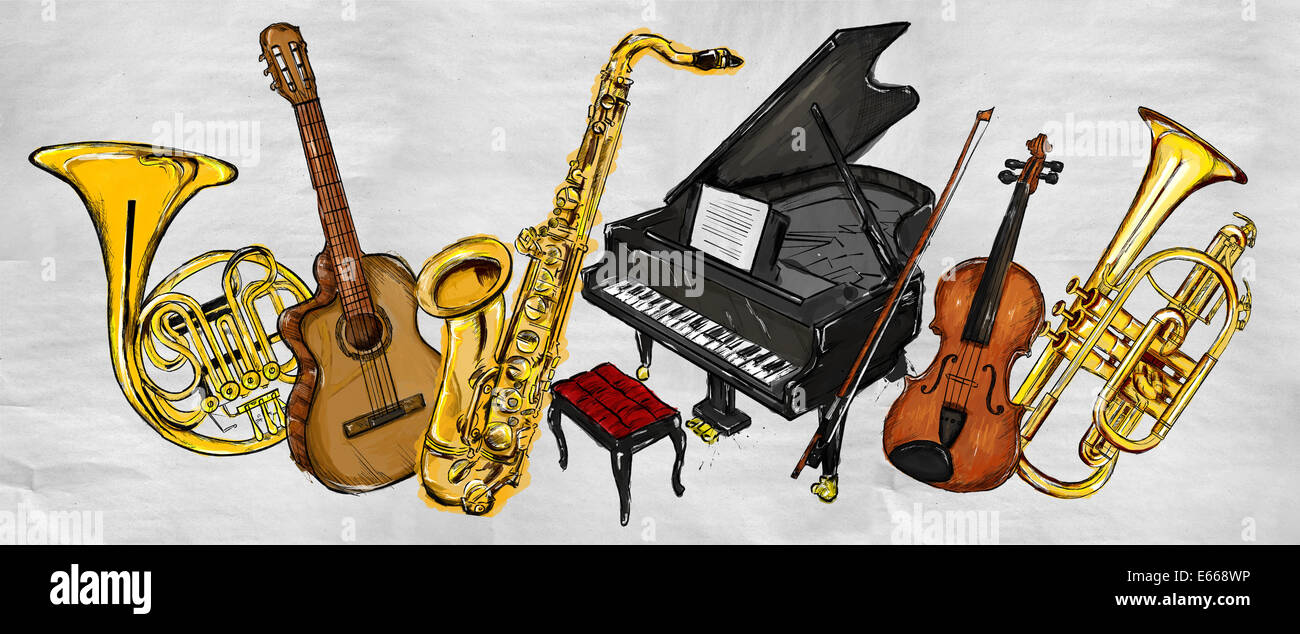 painting music instruments musical background stock. Black Bedroom Furniture Sets. Home Design Ideas