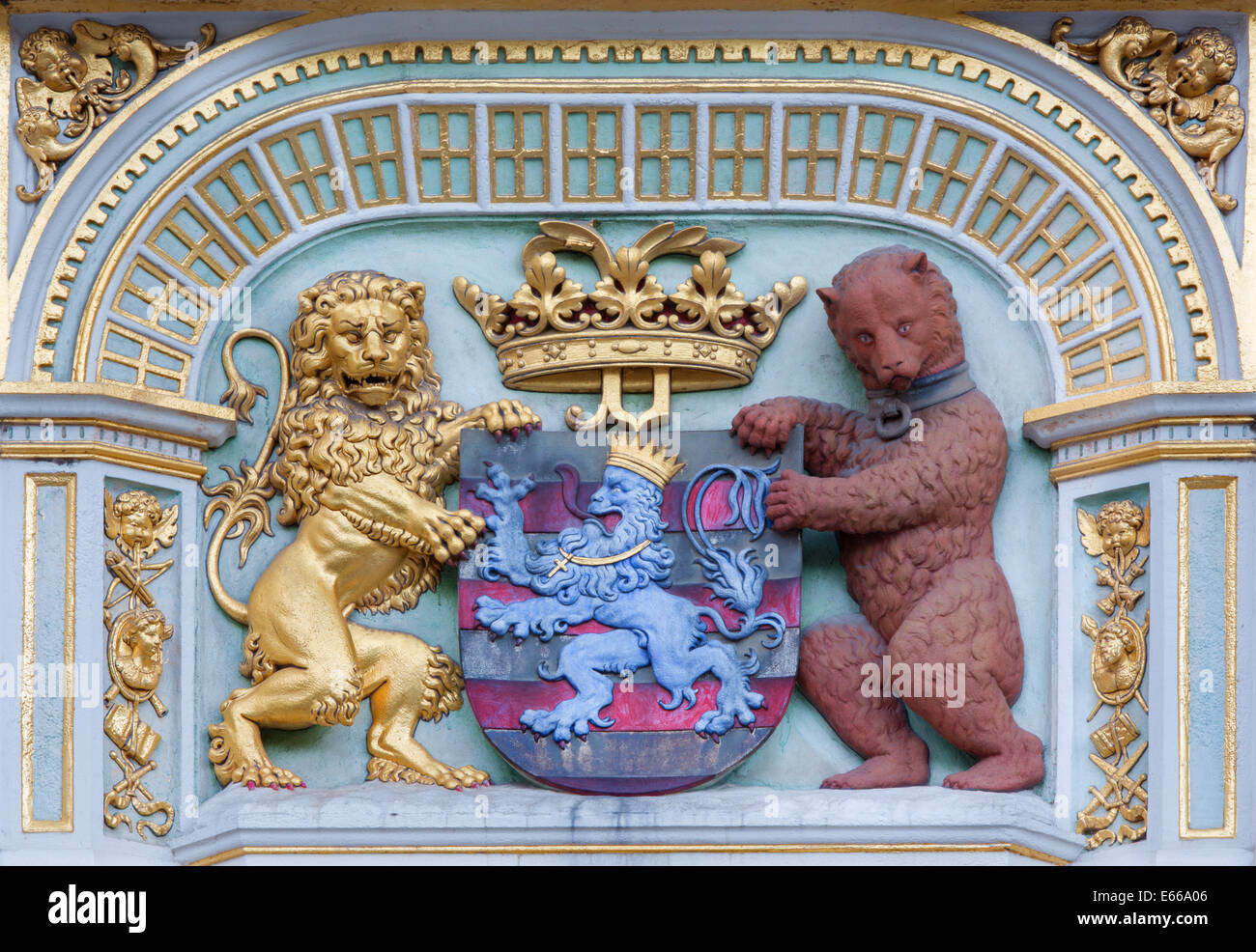 BRUGES, BELGIUM - JUNE 12, 2014: The Heraldry of town Bruges from the house on Burg square. - Stock Image