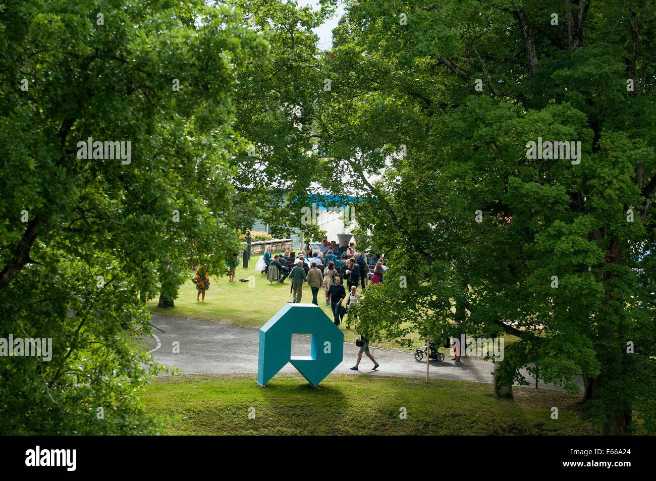 Paide, Estonia. 15th Aug, 2014. A statue of the Festival of Opinion Culture is seen in Paide, Estonia, on Aug. 15, - Stock Image