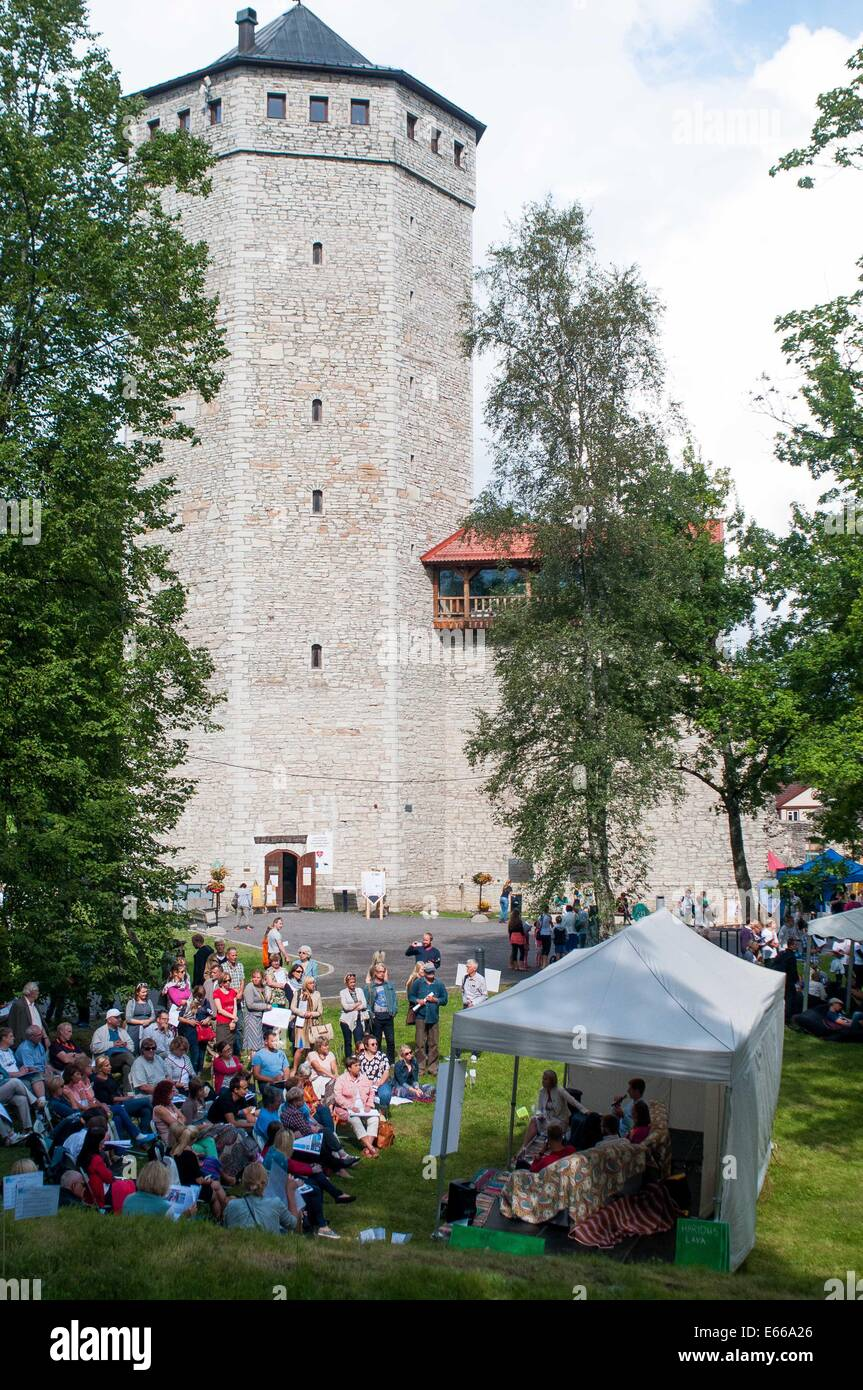 Paide, Estonia. 15th Aug, 2014. People attend a meeting during the Festival of Opinion Culture in Paide, Estonia, - Stock Image