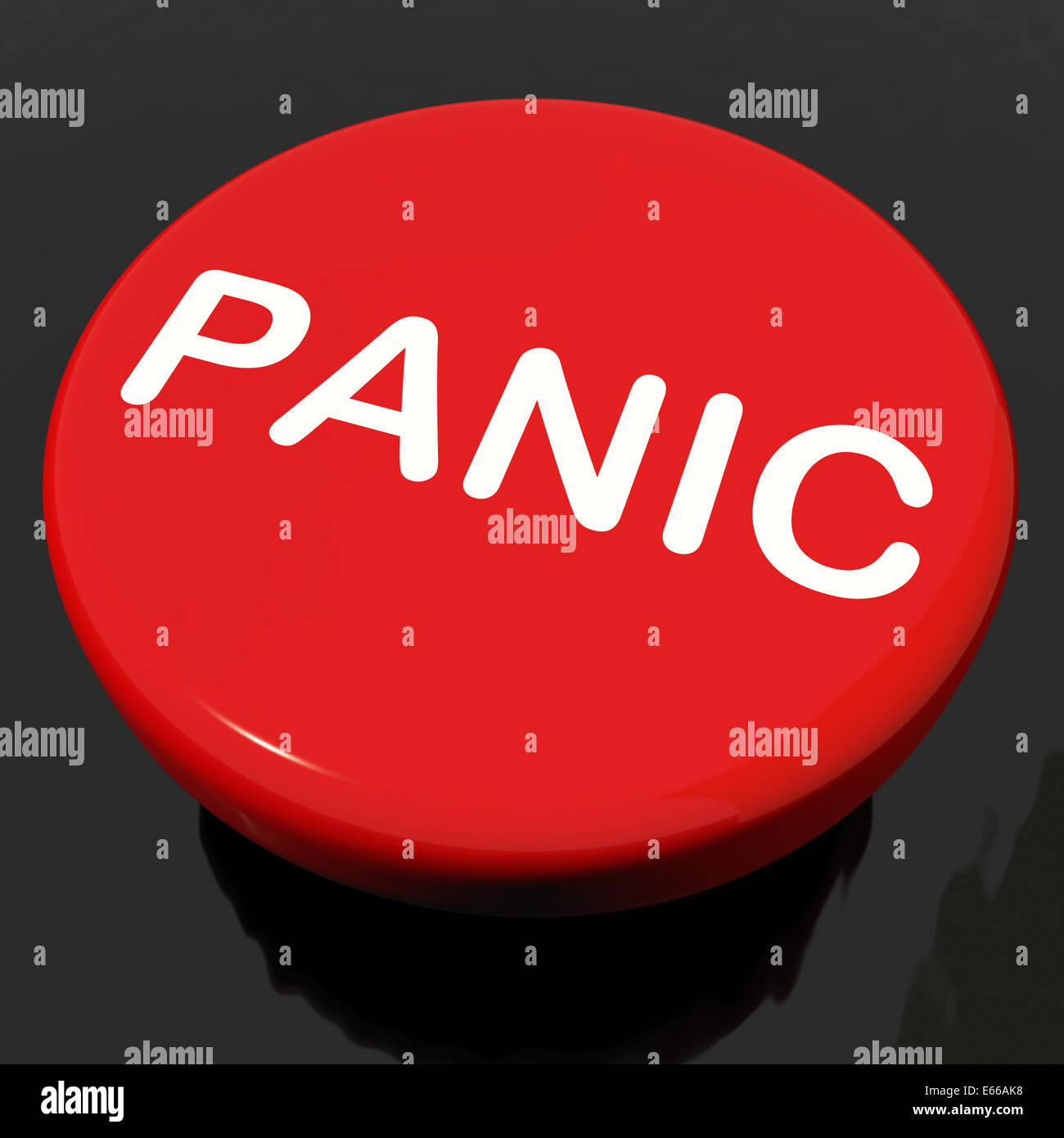 Panic Button Showing Anxiety Panicking Distress Stock Photo