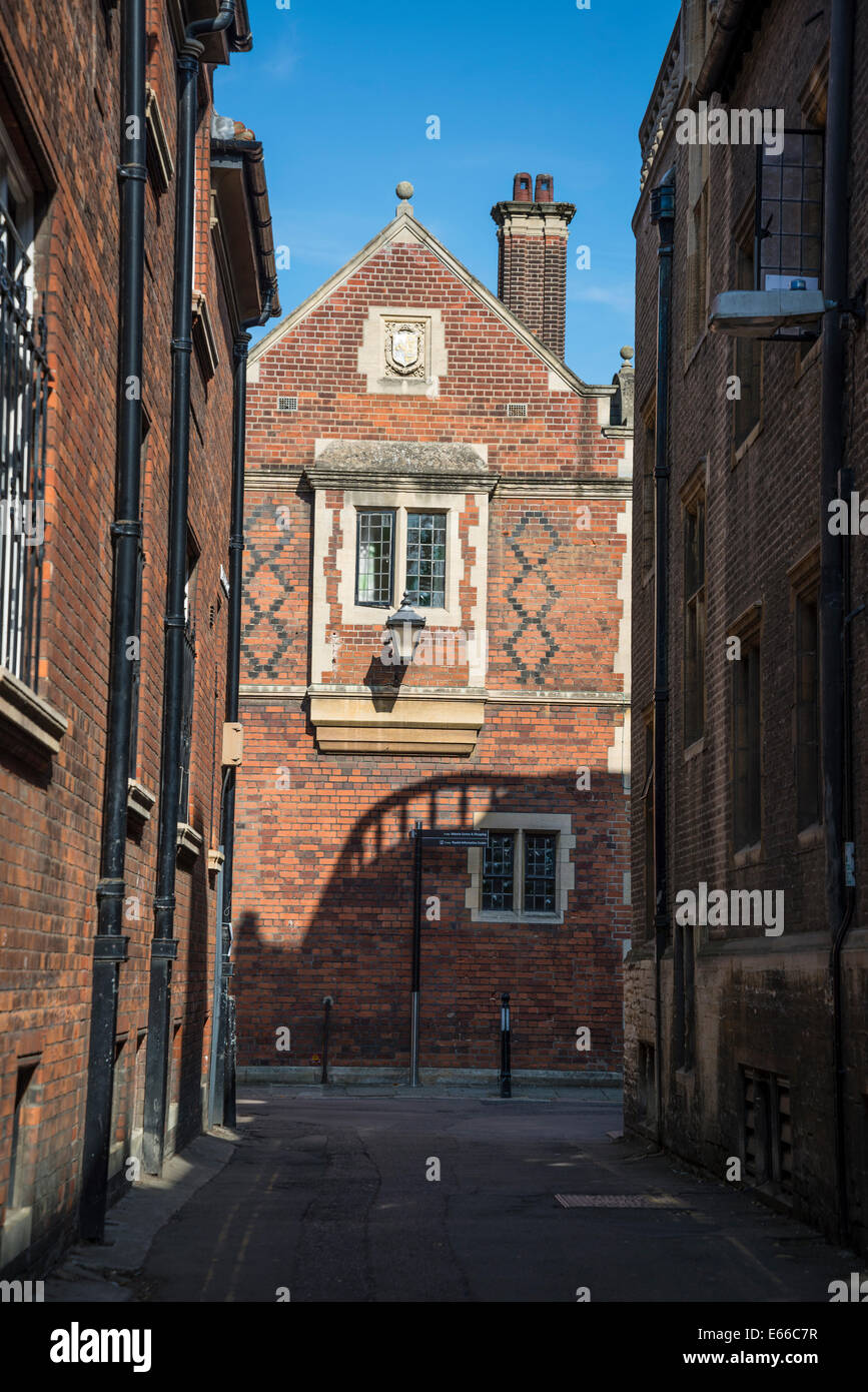 Red brick house, Trinity Lane Cambridge, England, UK - Stock Image