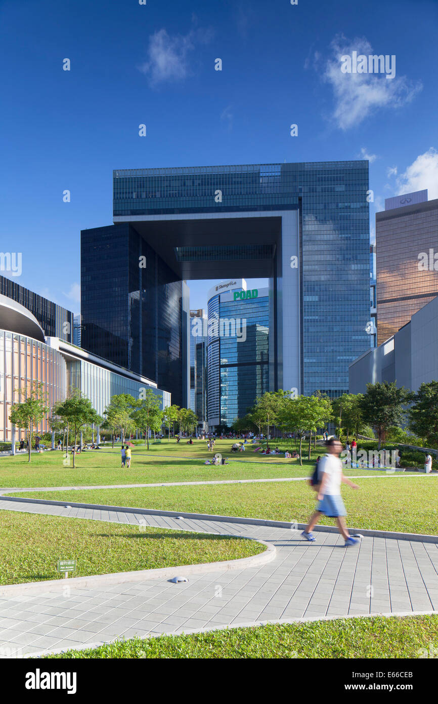 Tamar Park and Central Government Complex, Admiralty, Hong Kong Island, Hong Kong Stock Photo