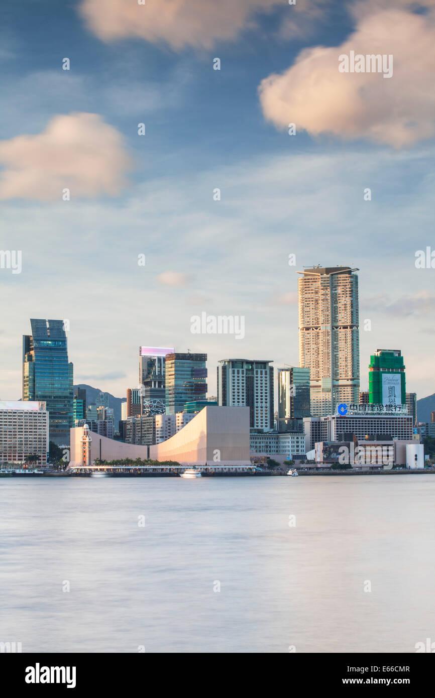 View of Tsim Sha Tsui skyline, Kowloon, Hong Kong - Stock Image