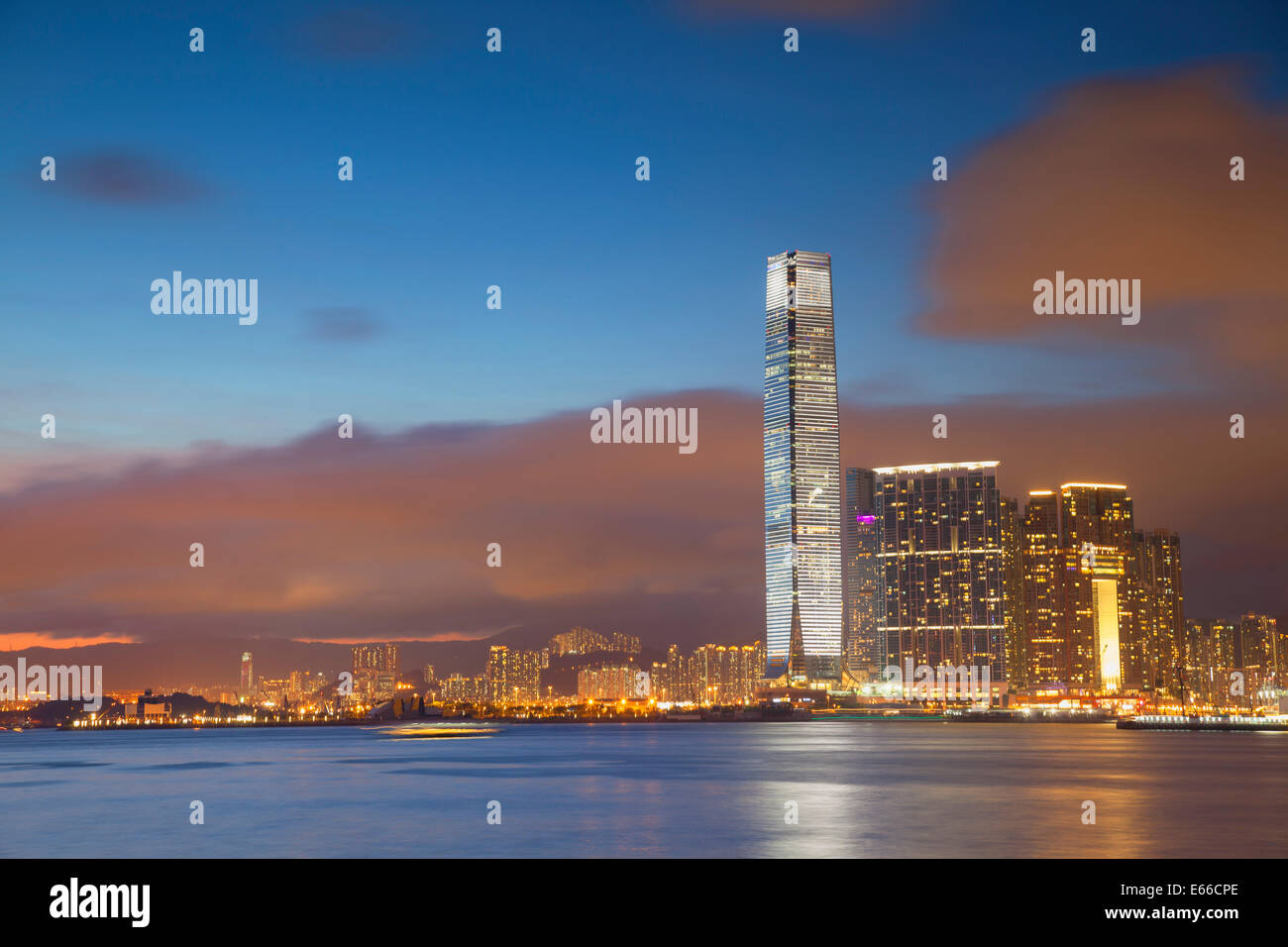 International Commerce Centre (ICC) at sunset, West Kowloon, Hong Kong - Stock Image