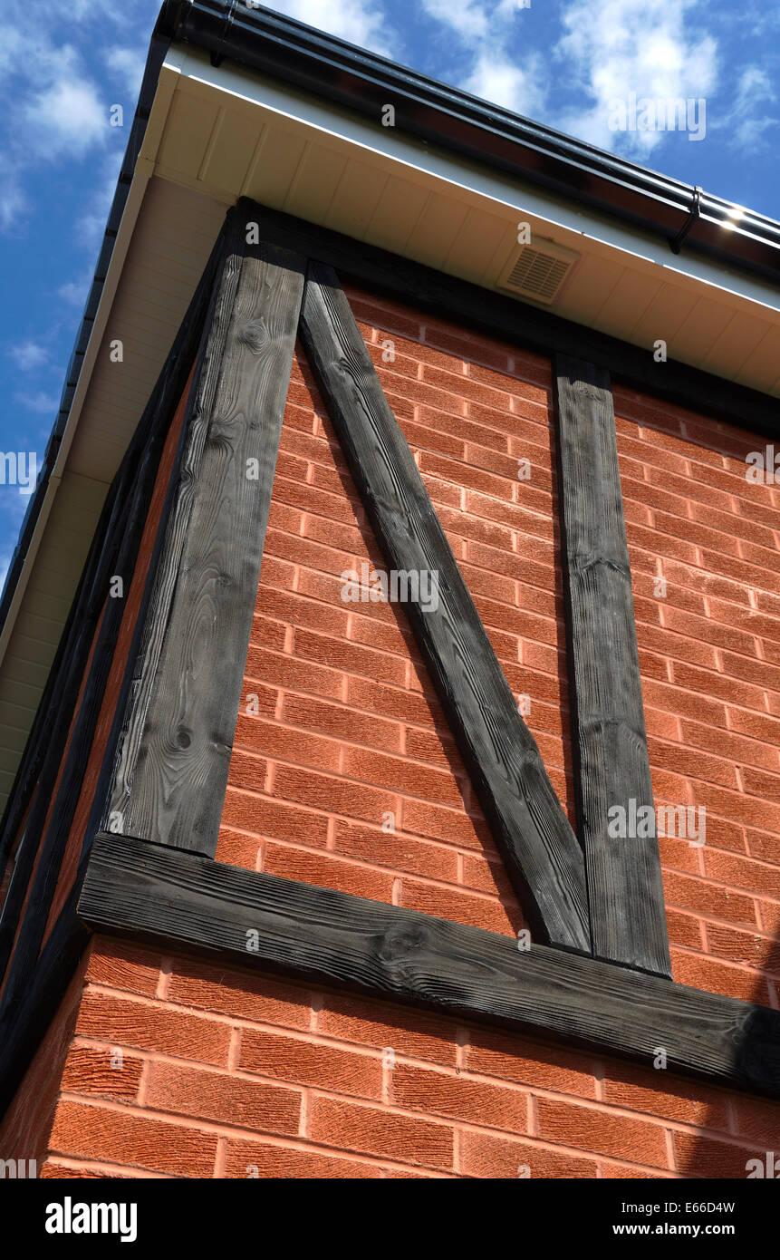 Mock Tudor beams from sandblasted pine. - Stock Image