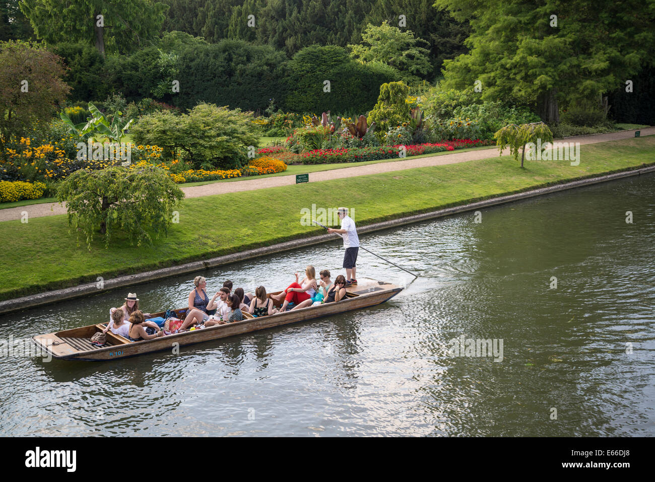 Punting on the River Cam past Clare College Fellows' Garden Cambridge, England, UK - Stock Image